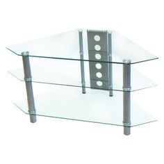 "Glass Corner Tv Stand - Clear/chrome (44"")"