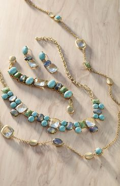 Liven up your look with green-and-blue stones in this beautiful jewelry collection. - I could use more turquoise jewelry.