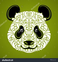 stock-vector-ornamental-decorative-panda-panda-bear-cute-face-isolated-icon-logo-on-green-background-vector-295781489.jpg (1500×1600)
