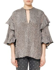 ded1071ade5835 Basile Sequined Viscose Ruffle Blouse by Isabel Marant Studded Jeans