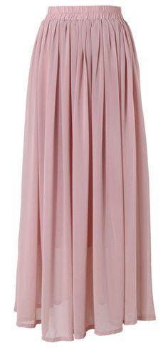 Long Maxi Skirt Pink