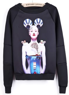 Black Long Sleeve Portrait Print Crop Sweatshirt S.R.97.13