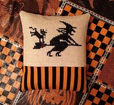 Halloween Cross Stitch Witch Flying Cat by jackwabbitprimitives