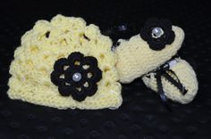Yellow and black Crochet Baby beenie and Bootie by ESCreations14, $25.00