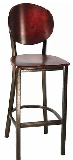 Metal Barstool with Round Back and Veneer Seat, 6185B by H&D Restaurant Supply by H&D Restaurant Supply | BizChair.com