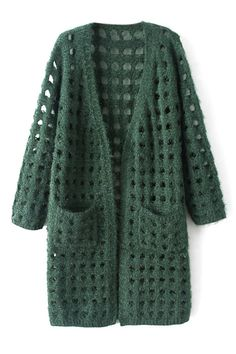 Hollow-out Long Style Cardigan