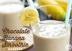 Easy, healthy chocolate banana smoothie. Great summertime snack!