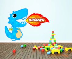 Custom Name Cute Blue Dragon Wall Decal by ChamberDecals on Etsy