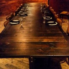 It's fun to see my first project.  This is a 5 peice table set that put together is 17' long. #brandreserveinc #reclaimedwood #thebutcherandboar
