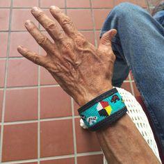 Vintage seed bead leather Men's bracelet bear by romaarellano