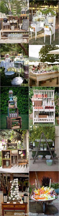 rustic country wedding ideas - rustic country wedding drink bar / http://www.deerpearlflowers.com/wedding-drink-bar-station-ideas/