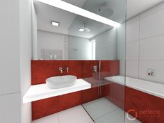 Red bathroom for a teenage girl Bathroom Red, Bathrooms, Malm, Bathroom Lighting, Mirror, Czech Republic, Home Design, Furniture, Home Decor