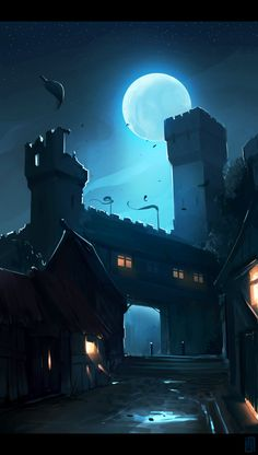 Castle at Night Illustration Image Clipart, Art Clipart, Environment Concept Art, Environment Design, Fantasy Places, Fantasy World, Fantasy Setting, Vampire, Fantasy Inspiration