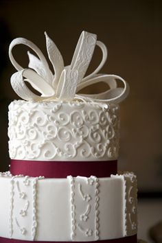 Best Cake Decorating Book Ever! http://www.amazon.com/gp/product/143918352X/ref=as_li_tl?ie=UTF8&camp=211189&creative=373489&creativeASIN=143918352X&link_code=as3&tag=alejanguerre-20&linkId=XJTFX462YWMZO4ZB - Beautiful white & bordeaux ribbon #WeddingCake