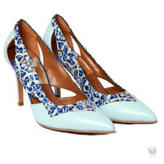 Global Wealth Trade Corporation - FERI Designer Lines    https://gwtcorp.com/vdm/display_item.php?referral=luxurybyss&category=67&item=6482&cntylng=&page=1    - Ladies genuine leather pointed pumps  - Made with exclusive mosaic print leather  - Custom FERI hardware  - Genuine leather upper and interior  - Custom sole imprint with FERI design   - Thick and cushiony sole for all day comfort   - Colour: light blue with multi coloured leather  - Heel Height: 3.5 in