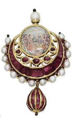 A RUBY AND PEARL 'RHADAKRISHNA' PENDANT. Designed as a round miniature depicting Rhada and Krishna in a ruby and pearl crescent-shaped part surround, the reverse with polychrome enamel of a peacock and other birds in foliage on a cream coloured background, suspending a cabochon ruby and gold drop-shaped pendant, 19th Century