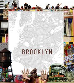 Brooklyn map quilt by Haptic Lab.  The map of Brooklyn covers everything from Coney Island to Greenpoint.