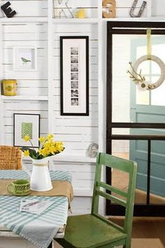 Love the mix of blues & greens here. Would be a nice look for lake house main living room.