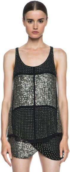 ISABEL MARANT Black Peachy Embroidered Georgette Tank