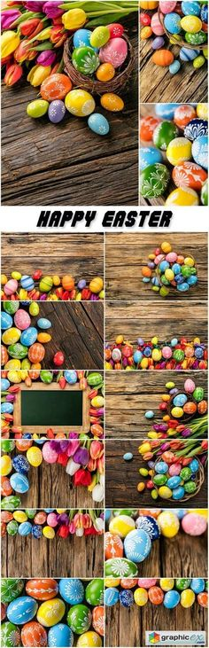 Easter eggs and tulips on wooden background  stock images