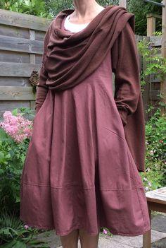 Red brown linnen dress