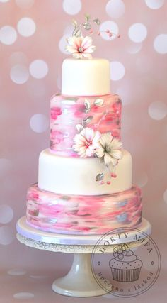 A Hand painted wedding cake with two tier hot pink fondant. Beautiful Wedding Cakes, Gorgeous Cakes, Pretty Cakes, Cute Cakes, Beautiful Birthday Cakes, Amazing Cakes, Beautiful Flowers, Cupcake Torte, Painted Wedding Cake
