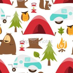 Download - Retro Happy Camper Seamless Pattern Background — Stock Illustration #71581309