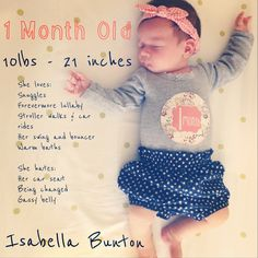 Baby Milestone One Month Old One Month Baby Months by TheWhiteLime ...