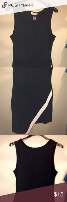 Black Dress Size Large Black dress with white stripe on bottom. Dress looks a bit more formal bc of the white stripe but the front V (see-through) makes it more sexy. Gives it a good balance. Form fitting dress as well. Knee length. a'gaci Dresses
