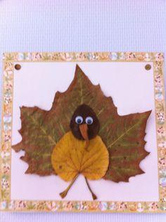 Vogel van bladeren , steeltjes en wiebeloogjes. Rand afgewerkt met masking of washi tape