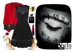 """""""Black swan"""" by giampourasjewel ❤ liked on Polyvore featuring MAC Cosmetics, sass & bide, Christian Louboutin and Yves Saint Laurent"""