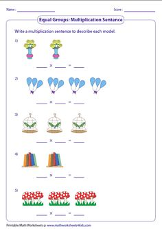 Variety of worksheets based on multiplication models such as equal groups, rectangular arrays, area models and number lines. Math Multiplication Worksheets, 3rd Grade Math Worksheets, Printable Math Worksheets, Multiplication Strategies, Math Math, Math Fractions, Maths, Preschool Learning Activities, Preschool Math