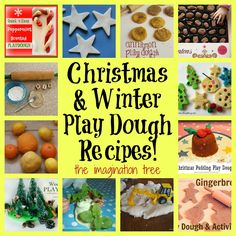 12 Christmas and Winter Play Dough Recipes - Use the Christmas figures for one of them