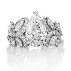 5.00ct White Pear Brilliant Wedding Engagement 925 Silver Ring-Free Shipment $$$