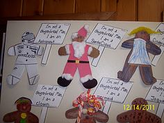 Great idea to tie community workers and gingerbread man art together at Christmas time with 1st grade unit