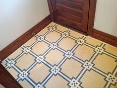 Many floor mosaics from the Victorian era to the mid-1930s used a small hexagon, square, or penny-round tile to create patterns found in catalogs. These porcelain mosaics are made to the same specs today. $20 per square foot; Heritage Tile