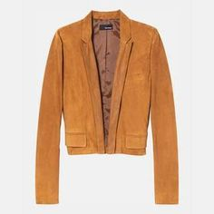 Short Suede Jacket with Embossed Collar by The Kooples