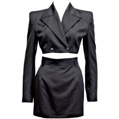 Preowned 1990s John Richmond Cropped Skirt Suit ($475) ❤ liked on Polyvore featuring suits, dresses, 90s and multiple