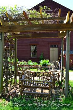 """On Sunday my friend Maria & I took a little drive to Brookfield MA see our friends at the Walker Homestead. This was day 2 of their """"Ga. Outdoor Rooms, Outdoor Living, Outdoor Decor, Outdoor Ideas, Country Farm, Country Life, Garden Structures, Outdoor Structures, Garden Projects"""
