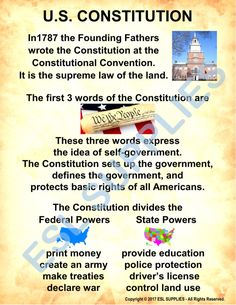 ESL Classroom Posters/Anchor Charts designed for teaching to Adult English Learners and Literacy students. History Education, Teaching History, Kids Education, Government Lessons, Teaching Government, Voyage Usa, States And Capitals, Teaching Social Studies, July 1