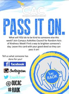 Random Acts of Kindness 2013 Flyer CAN'T WAIT FOR THIS WEEK!!!!!!!