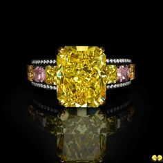 Incredible 6ct+ fancy vivid yellow diamond with rare pink, yellow and orange diamond accents from Novel's Collection of rare fancy color diamonds #NovelCollection #NovelCollectionAsia #Diamond