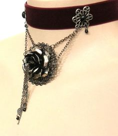 SALE Heirloom Rose burgundy velvet gothic by EnchantressAdornment, $42.00