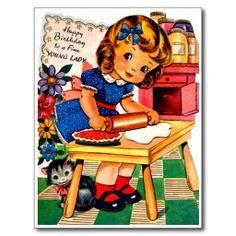 Cute Little Girl Baking Pie - Retro Happy Birthday Postcard #HappyBirthday #Postcards #Girl #Gifts
