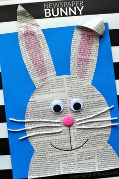 Looking for a cute Easter craft for kids? This super cute newspaper bunny craft is an easy kids craft and cute preschool kids craft. rabbit crafts for kids Simple and Easy Newspaper Bunny Craft Easy Easter Crafts, Easter Art, Easter Crafts For Kids, Toddler Crafts, Preschool Crafts, Easter Bunny, Simple Crafts, Easter Ideas, Easter Decor
