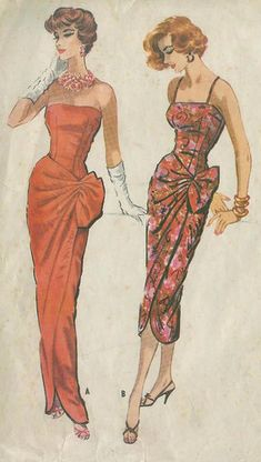 McCall's 4425 cocktail sheath wiggle strapless long floral orange 50s pattern