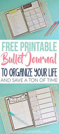 This free printable bullet journal will save you a ton of time! These free printable bullet journal pages will help you get organized and reduce time. You will find more time in your day since the bullet journal template is already made for you.
