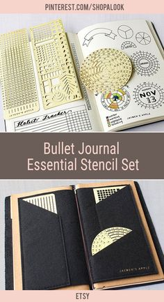 Bullet Journal Essential Stencil Set, Circle Chart Grid Chart Stencils - fits A5 journal & Midori Regular (Essential - Gold) #afflink #bulletjournal #bulletjournaling #bulletjournaljunkie