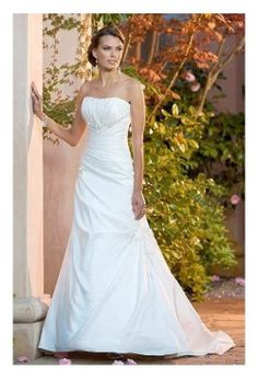 Pleated bodice with Diamante Beading, Taffeta A line, Chapel train Wedding Dress