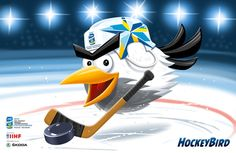Finland hosting Ice Hockey World Championship of Ice Hockey with Sweden in 2012 and Mascot is called Hockey Bird Hockey World, Hockey Players, World Championship, Ice Hockey, Winter Wonderland, Sweden, Illustrations, Seasons, Bird